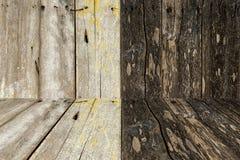 Wood väggar och golvtextur och bakgrund Arkivbild
