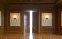 Wood väggpaneler i klassisk stil med att förgylla framförande 3d Arkivfoton