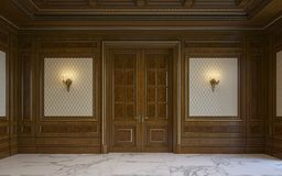 Wood väggpaneler i klassisk stil med att förgylla framförande 3d Royaltyfri Bild
