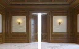 Wood väggpaneler i klassisk stil med att förgylla framförande 3d Arkivbilder