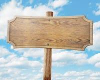 Wood vägmärke på himmelbakgrund Royaltyfri Fotografi