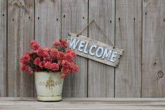 Wood välkommet tecken med krukan av blommor vid trästaketet Arkivfoto