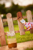 Wood varnishing. Applying protective varnish on a wooden fence Royalty Free Stock Image