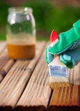 Wood varnishing Stock Image