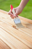 Wood varnishing Stock Images