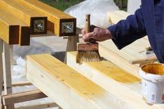 Wood varnishing Royalty Free Stock Images