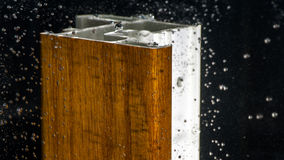 Wood veneer test by water Stock Photos