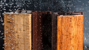 Wood veneer test by water Royalty Free Stock Photography
