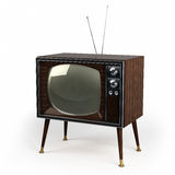 Wood Veneer Vintage TV Stock Photos