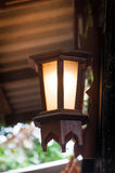 A Wood vintage lamp,antique lamp Wood Stock Image