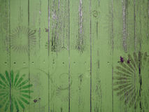 Wood vintage textures with floral graffiti Stock Image