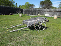 Wood Wagon. A wagon made from wood inside of a fort stock image