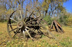 Wood wagon wheels Royalty Free Stock Images