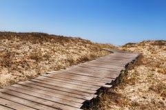 Wood Walk Way. On the bach sardinia Stock Images