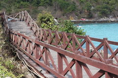 Wood walking on koh larn island Stock Photography