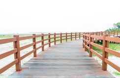 Wood walkway at Dadaepo Beach in Busan. South Korea Stock Photos