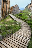 Wood Walkway and Rocks at Coast Stock Images