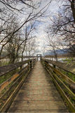 Wood Walkway to Moorage. Wood Walkway to Boat Moorage Royalty Free Stock Image