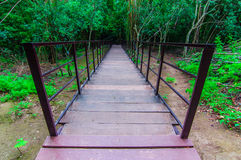 Wood walkway on a wild park to the Waterfall Huay Mae Kamin, Royalty Free Stock Images