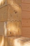 Wood wall. Closeup details of the yellow wood wall Stock Images