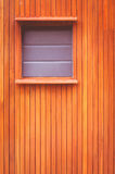 Wood Wall Background. Brown Wooden Wall With Window Background In Vintage Style Stock Photo