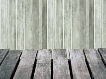 Wood wall blurred background and brown wooden floor. Royalty Free Stock Image