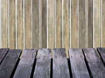 Wood wall blurred background and brown wooden floor. Royalty Free Stock Images