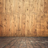 Wood on wall and brick floor for your home and for background Royalty Free Stock Image