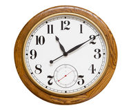 Wood wall clock, isolated. Big wood wall clock on white, isolated with clipping path stock image