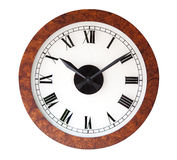 Wood wall clock, isolated Stock Images