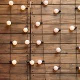 Wood wall with edison light bulb Stock Image
