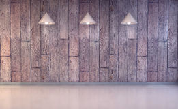 Wood wall and floor with lamps Royalty Free Stock Photos