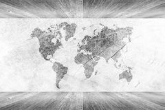 Wood wall and floor room interior White color with world map Royalty Free Stock Image