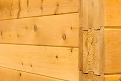 Wood wall houses from glued beams Stock Photo