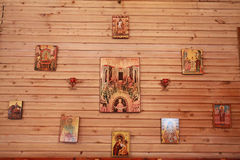 Wood wall with orthodox holy paintings called icons Royalty Free Stock Photos