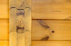 Wood wall (Pine). Pine wall - yellow wood texture Stock Photos
