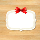 Wood Wall With Red Bow Stock Photography