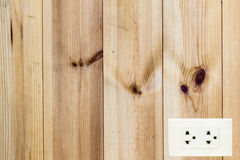 Wood wall and white socket Royalty Free Stock Image
