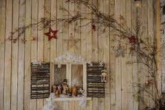 Wood wall with window. Decorated for photo session royalty free stock photography