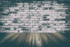 wood wall and wood floor interior and old room with brick wall, Stock Photography