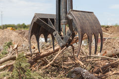 Wood waste being loaded. Wood and shrub waste being picked up ready to be loaded for recycling Royalty Free Stock Photography