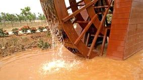 Wood water wheel working. 4K stock footage