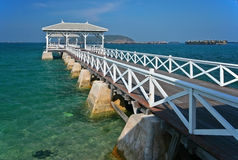 Wood waterfront pavilion  Thailand Royalty Free Stock Photography