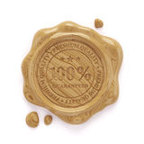 Wood wax seal 100 percent premium quality stamp  on whit Stock Photo