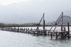 Wood way of the fish farm Stock Images