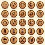 Wood Weather Icons in Brown Background. Includes high resolution image, Illustrator CS and EPS10. Vector with transparency Stock Photography