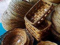Wood weave basket of local products Stock Images