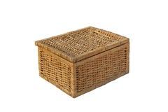 Wood weave box on isolated Stock Photo