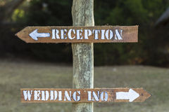 Wood Wedding Reception Signs. Wood direction signs for wedding inquiries reception outside Royalty Free Stock Photos