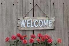 Wood welcome sign with mum border on wood fence